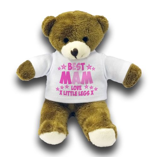 "Personalised Best Mam Gift 7"" Teddy Bear - Pink"